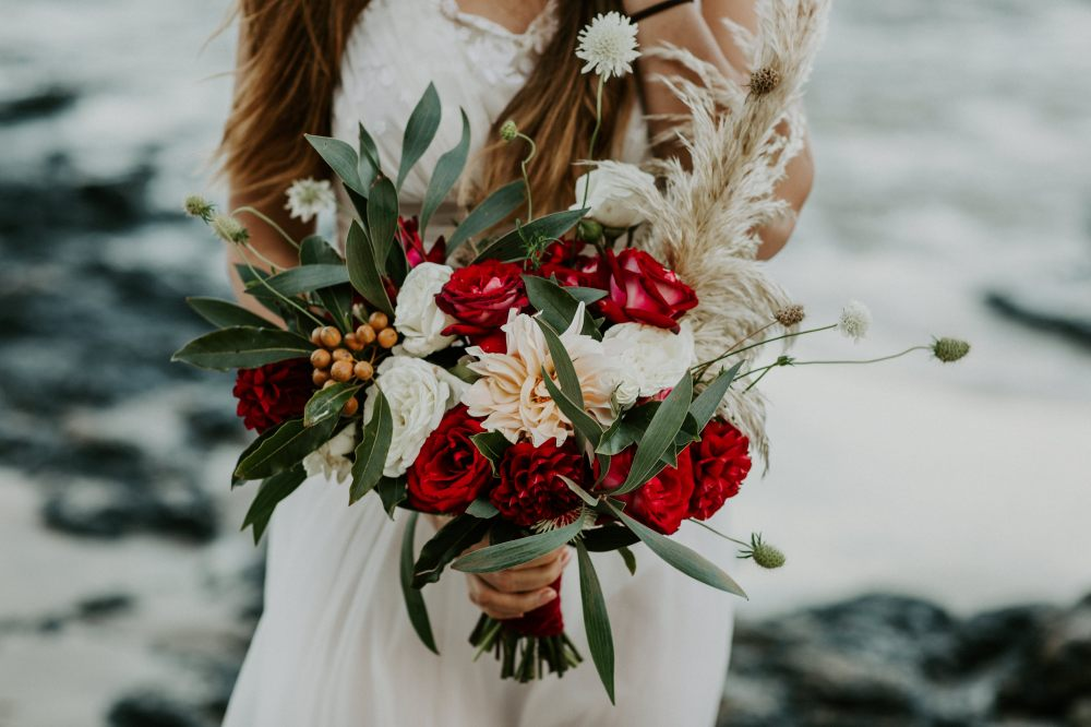 Bridal bouquet: red, white, gum