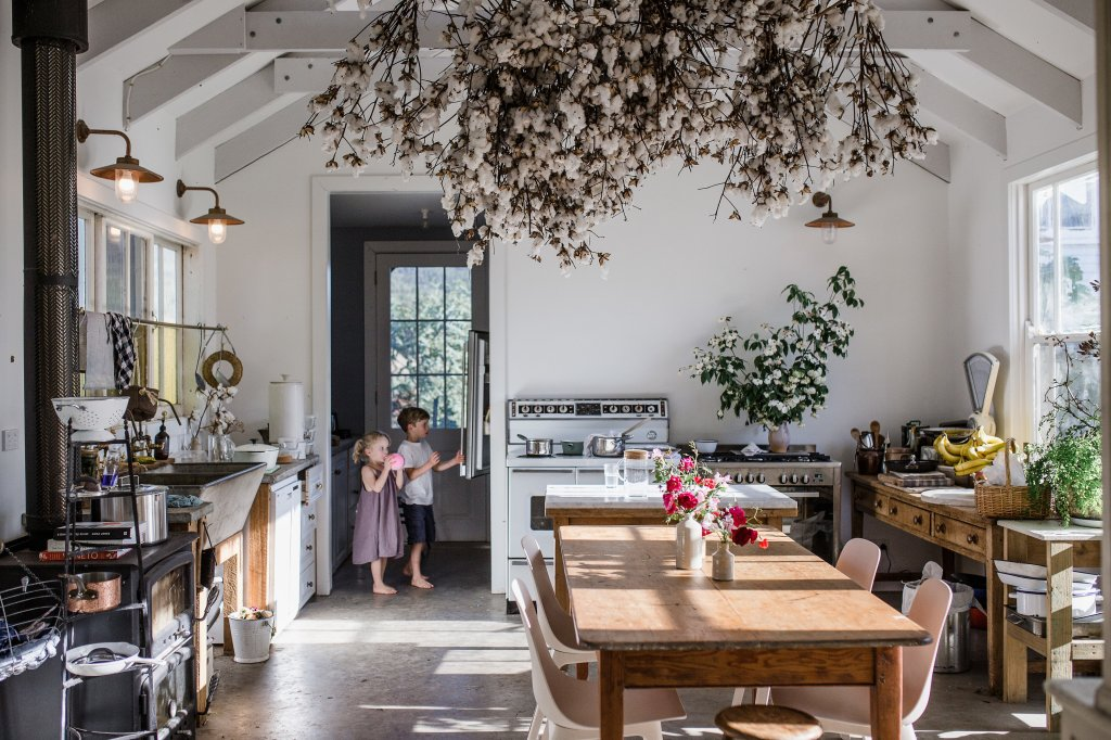 Kitchen with Cotton tree branches hanging